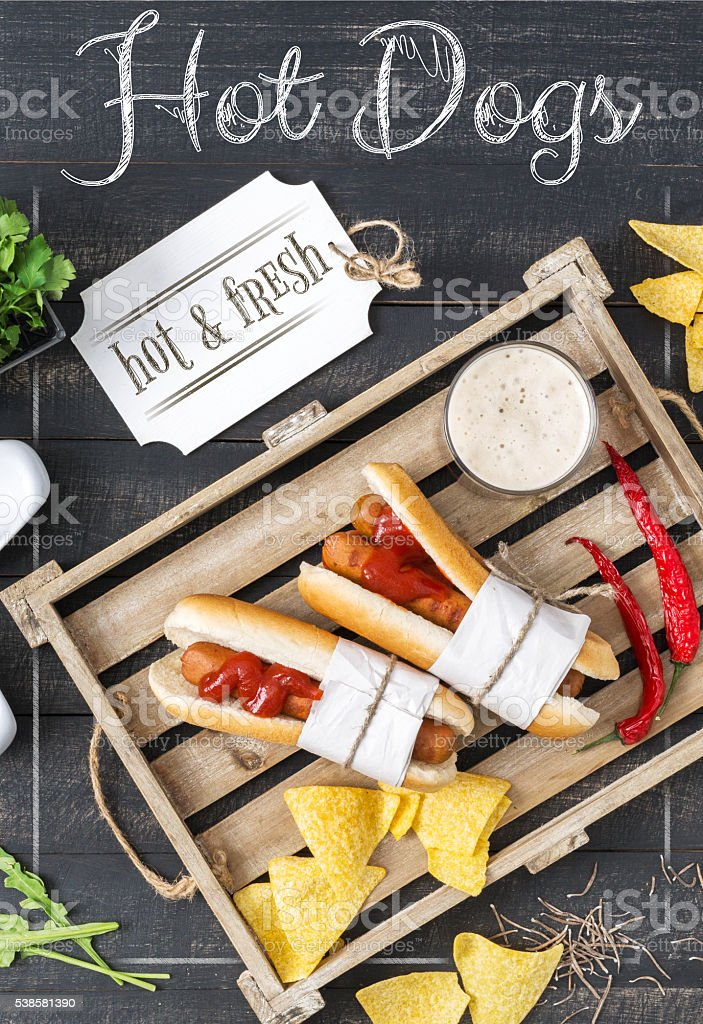 Hot Dogs Menu stock photo