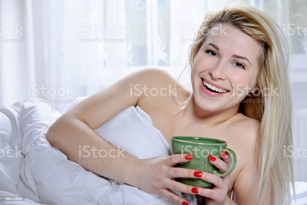 hot drink in bed royalty-free stock photo