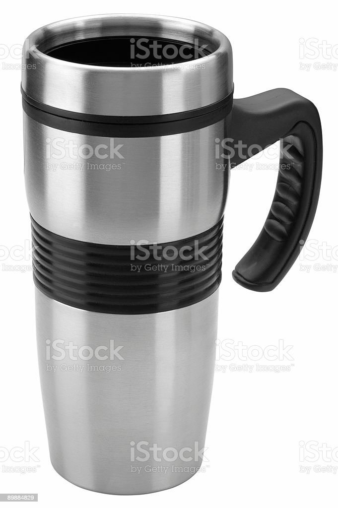 Hot drink thermos mug stock photo