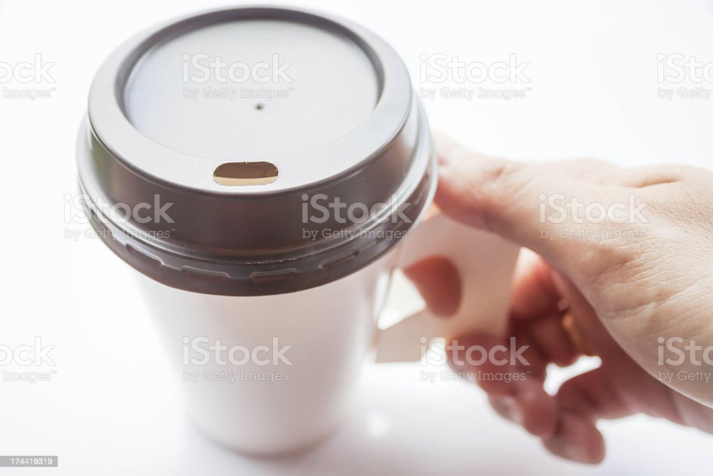 Hot drink with espresso shot in paper cup stock photo