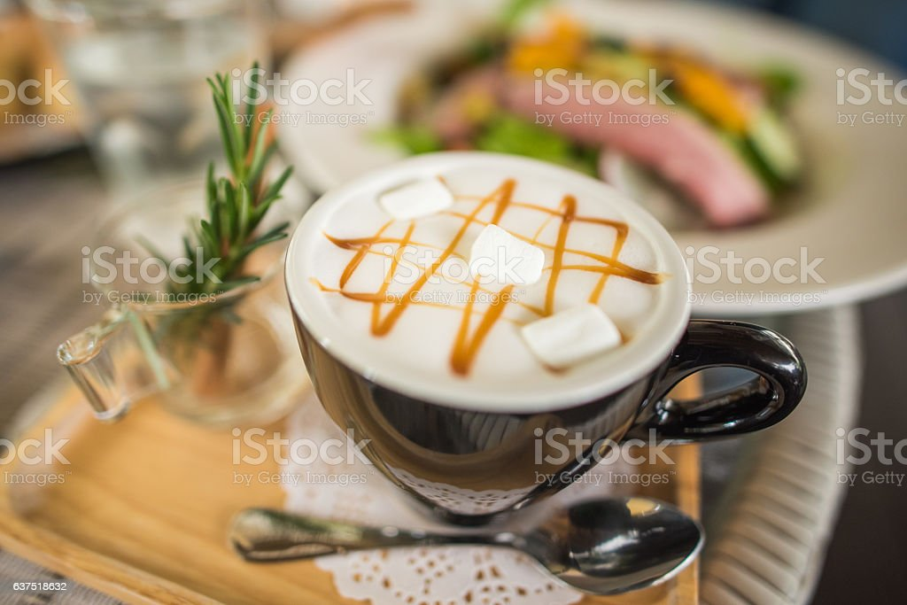 hot drink with marshmallow stock photo