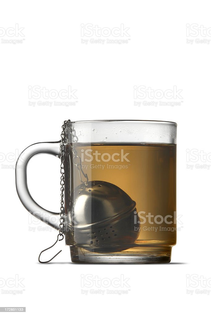 Hot Drinks: Glass of Tea Isolated on White Background stock photo