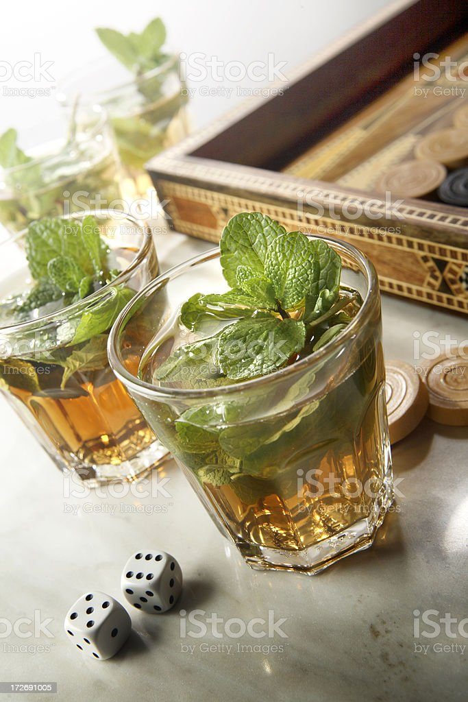 Hot Drinks: Middle Eastern Mint Tea Still Life stock photo