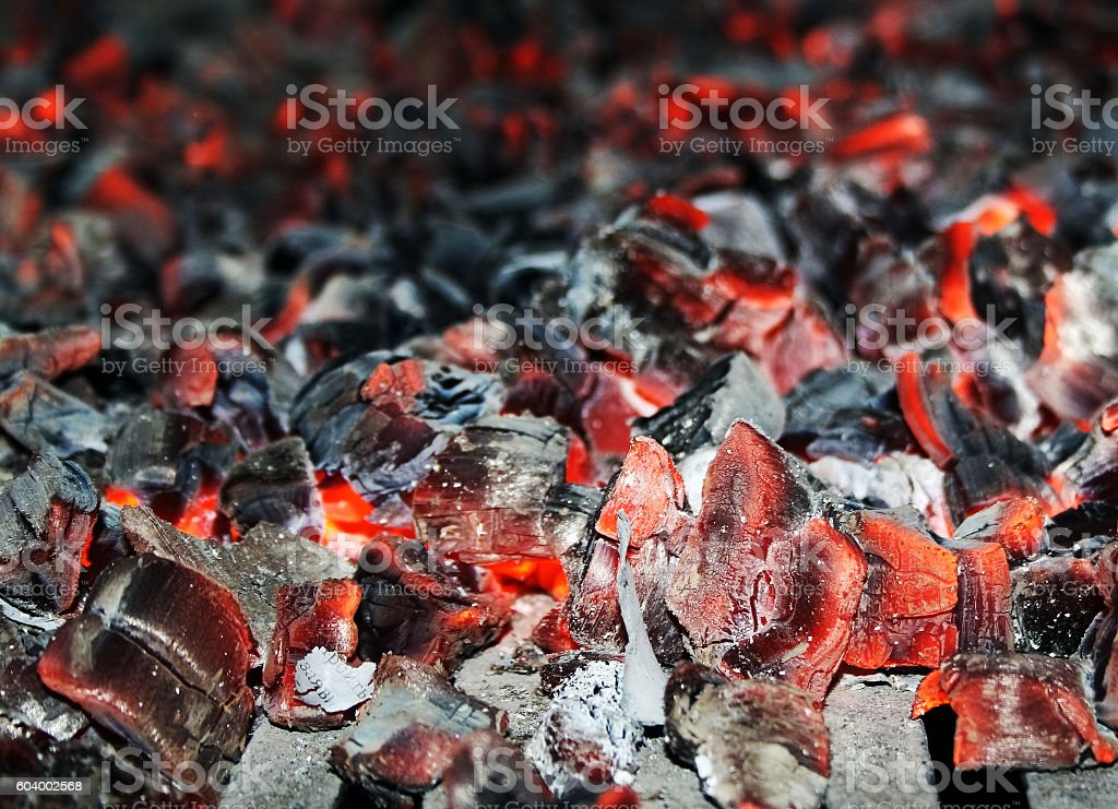 Hot embers are flickering in oven stock photo