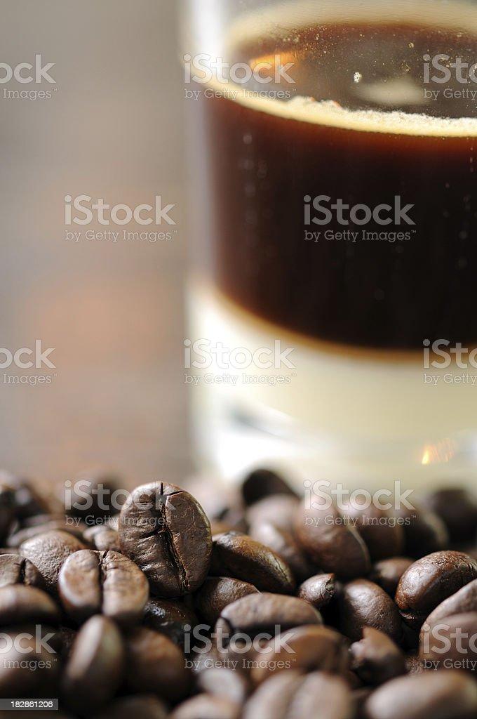 Hot Espresso with Cortado Art royalty-free stock photo