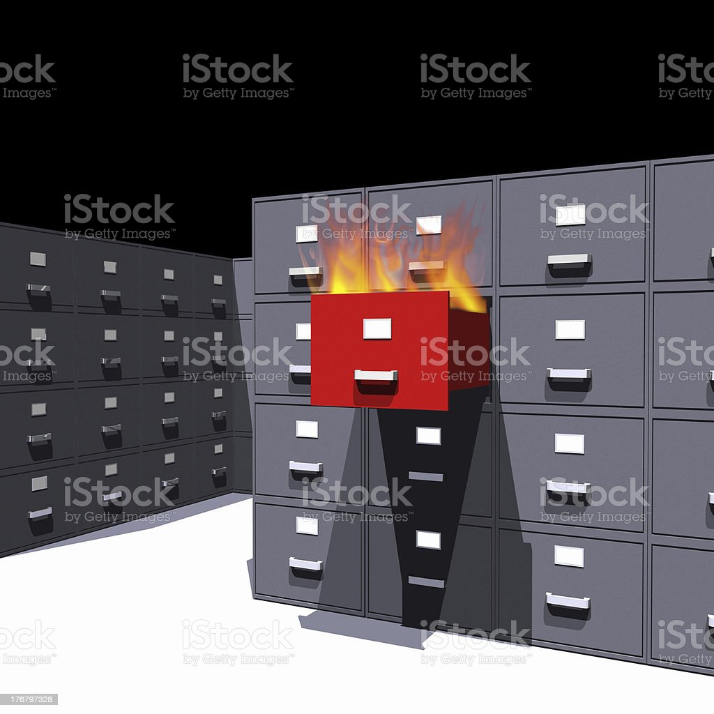 Hot files in a cabinet - 3D royalty-free stock photo
