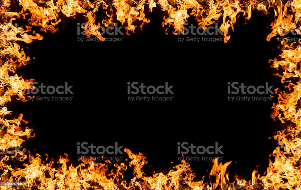 Hot fire frame stock photo