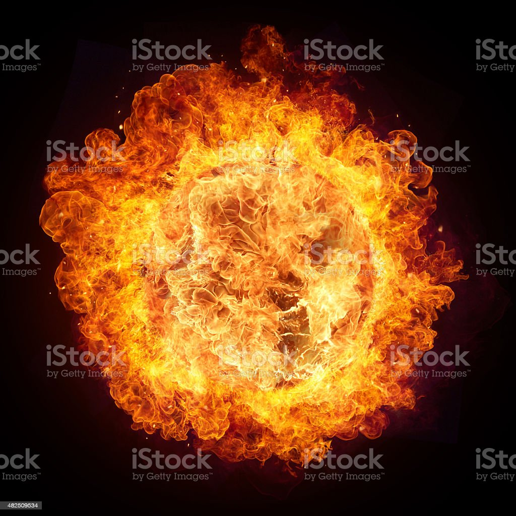 Hot fires flames in round shape stock photo