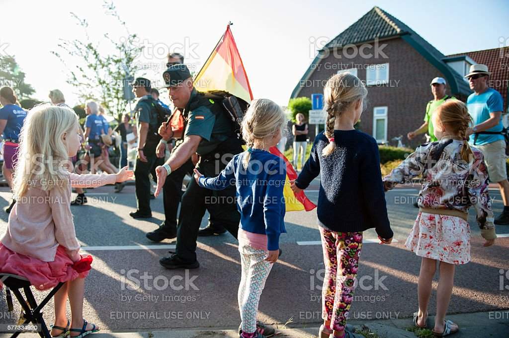 Hot first day of the 100th edition  Four Day Marches stock photo