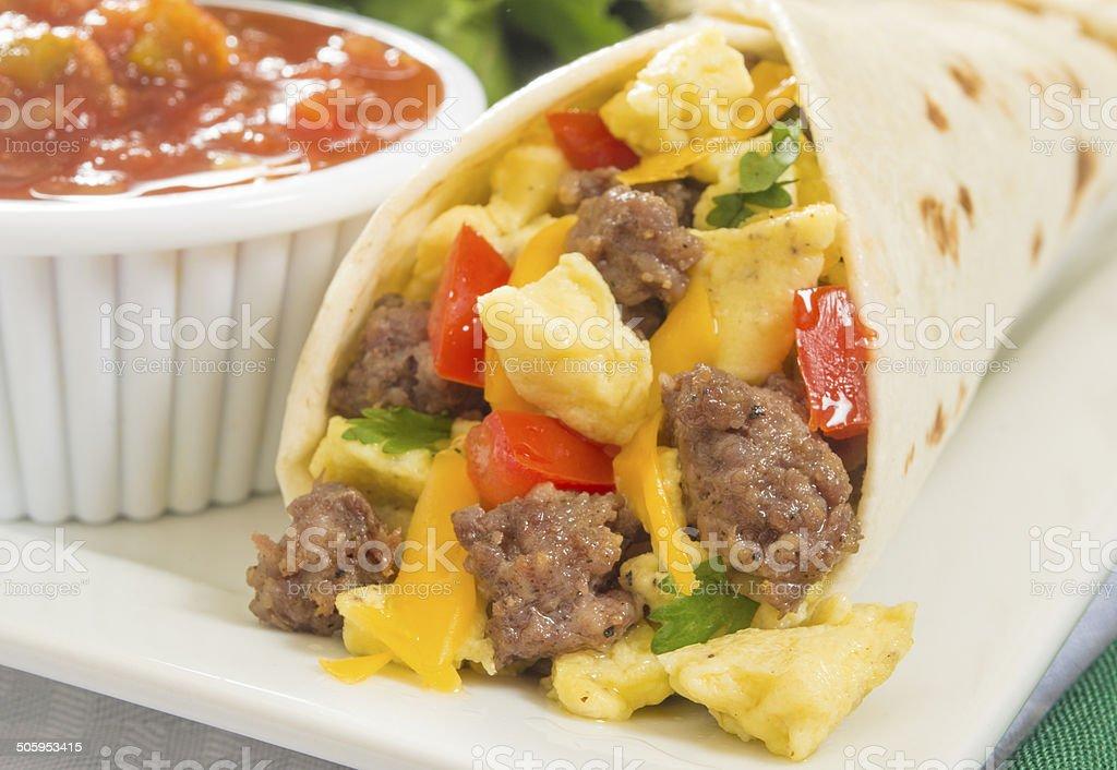 hot fresh breakfast burrito stock photo