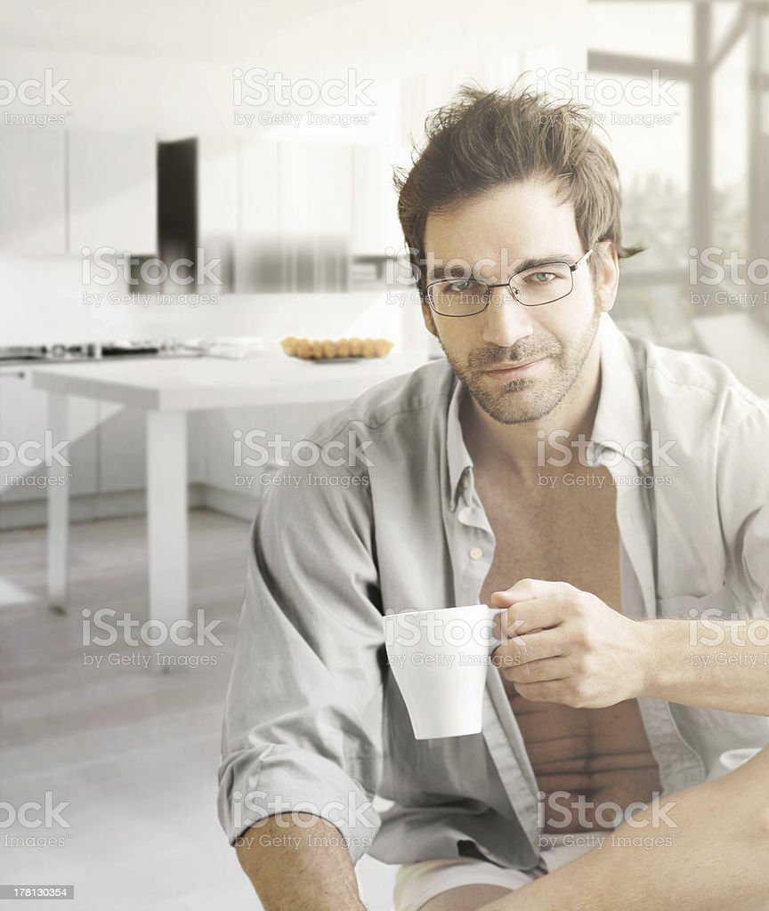Hot guy in morning royalty-free stock photo