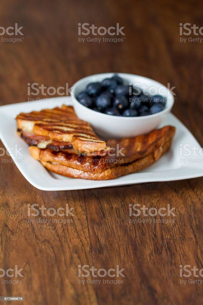 Hot Ham and Cheese with Blueberries stock photo