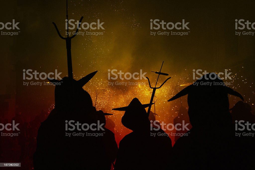 hot hell (catalan festivities) stock photo