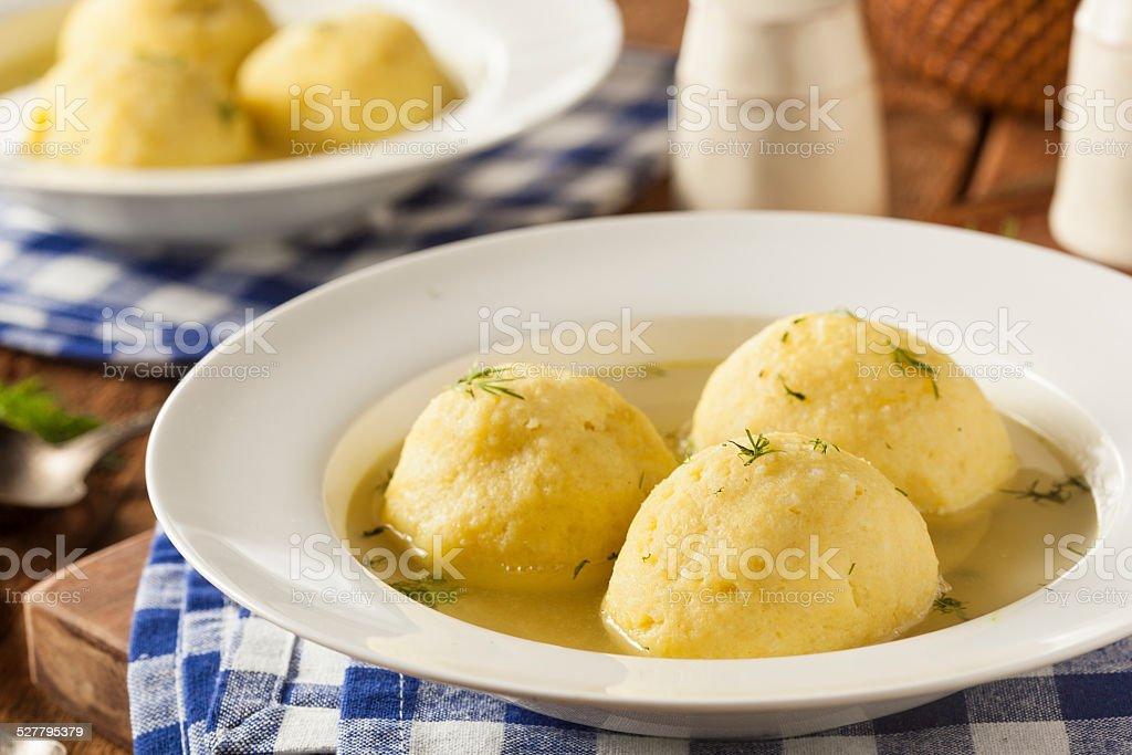 Hot Homemade Matzo Ball Soup stock photo