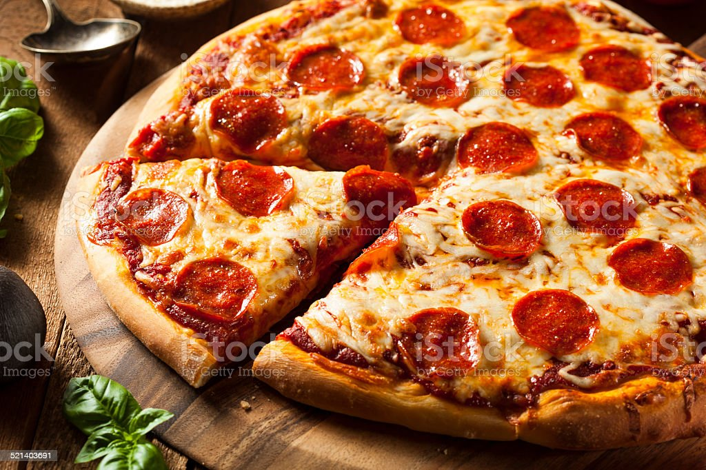 Hot Homemade Pepperoni Pizza royalty-free stock photo