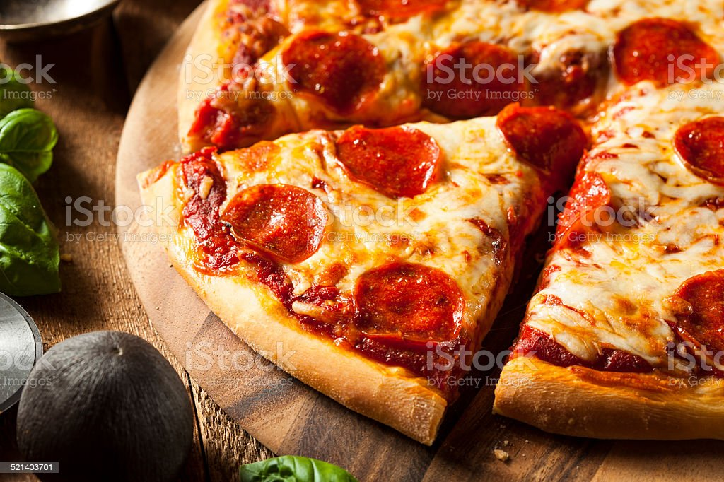 Hot Homemade Pepperoni Pizza stock photo