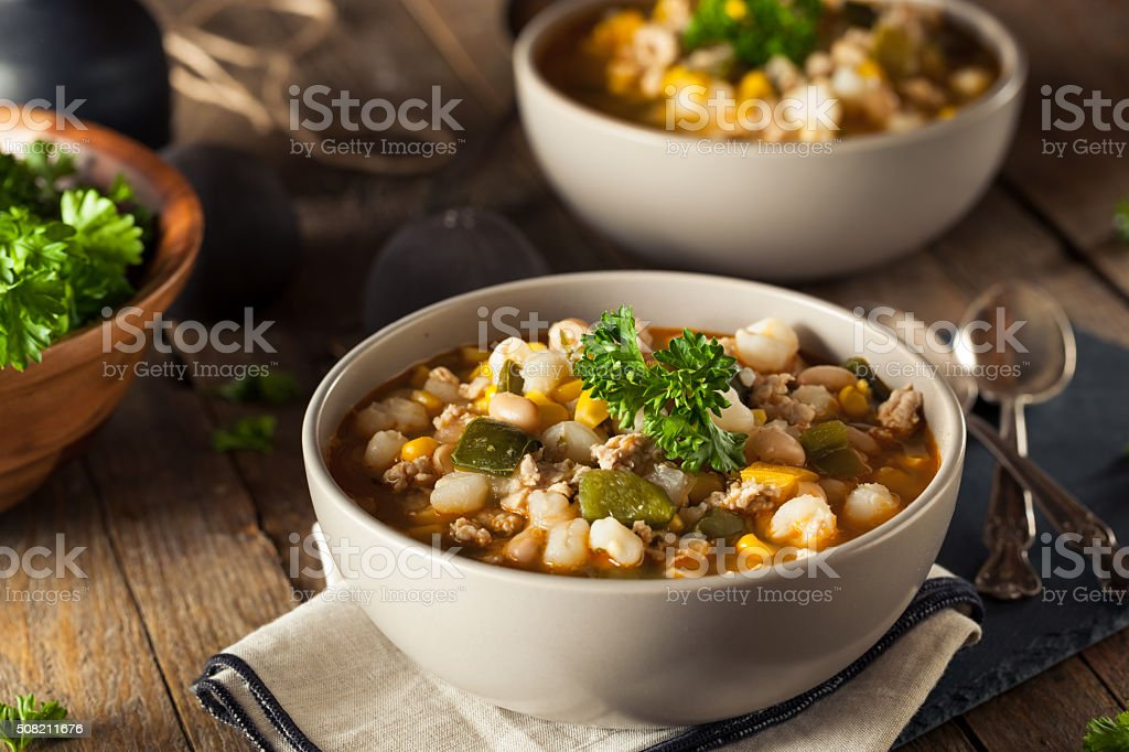 Hot Homemade White Bean Chicken Chili stock photo