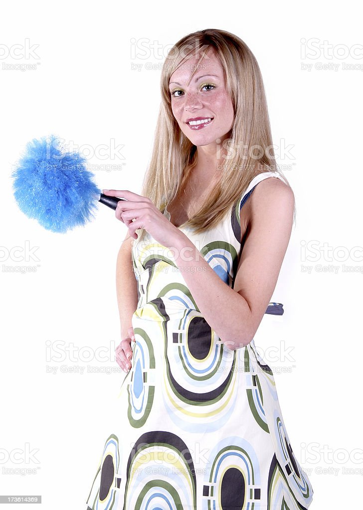 Hot Housewife: Dusting. royalty-free stock photo