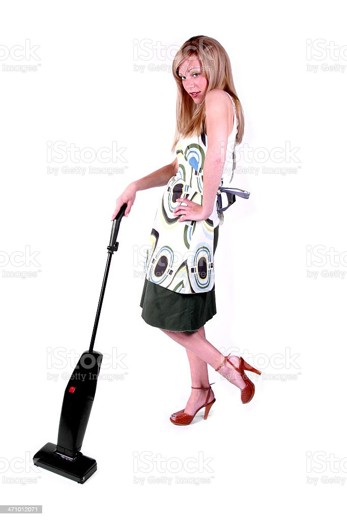 Hot Housewife: Vacuuming. royalty-free stock photo