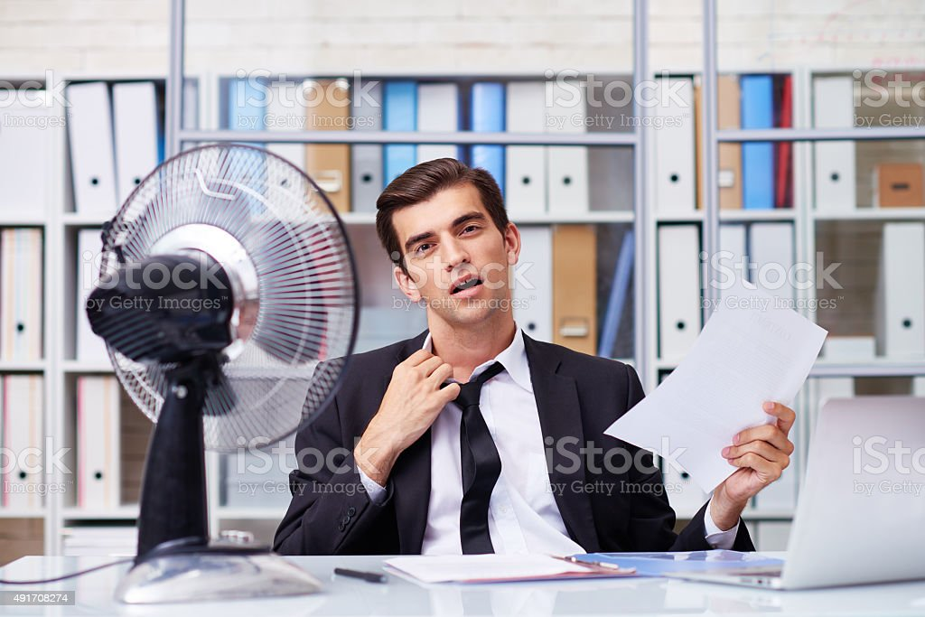 Hot in the office stock photo
