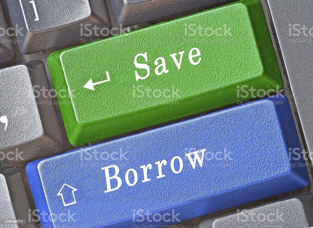 Hot key for save and borrow stock photo