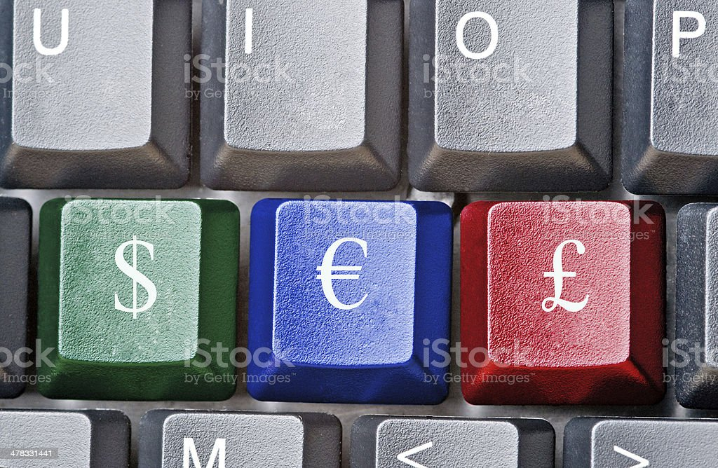 Hot keys with currencies symbols royalty-free stock photo