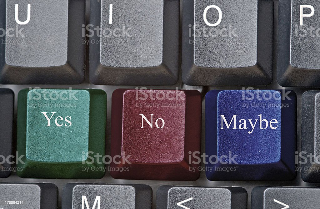 Hot keys with Yes, No, Maybe stock photo