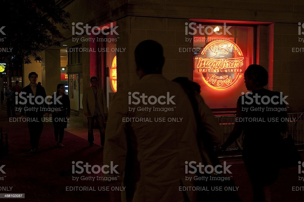 Hot Krispy Kreme sign in Dupont Circle stock photo