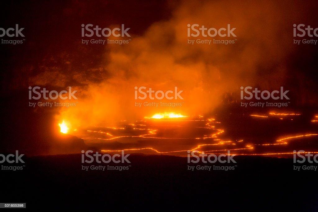 Hot Lava Churns Inside Hawaii's Kilauea Volcano Crater stock photo
