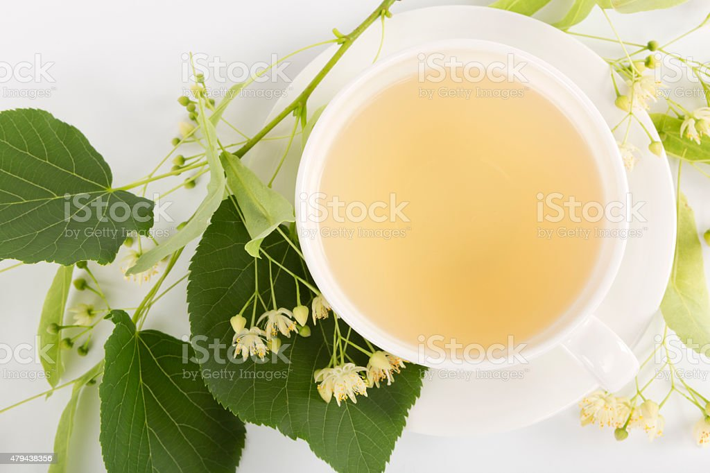 Hot linden tea stock photo