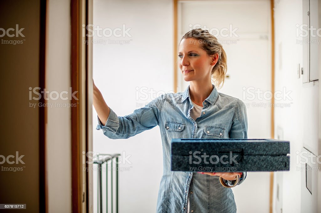 Hot Meal Delivery at Home stock photo