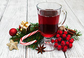 hot mulled wine and Christmas decorations