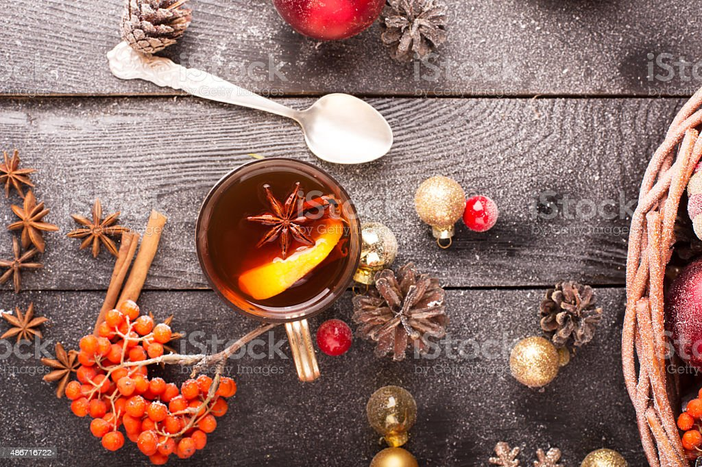 Hot mulled wine stock photo
