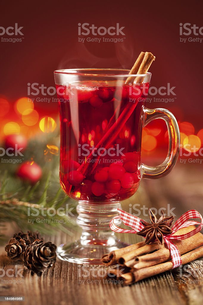 Hot mulled wine with berries royalty-free stock photo