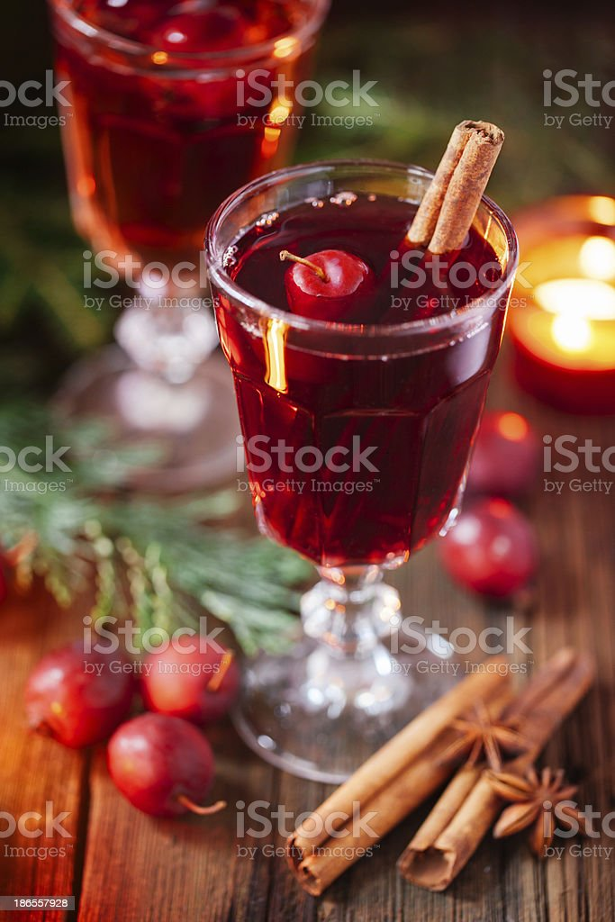 Hot mulled wine with crab apples stock photo