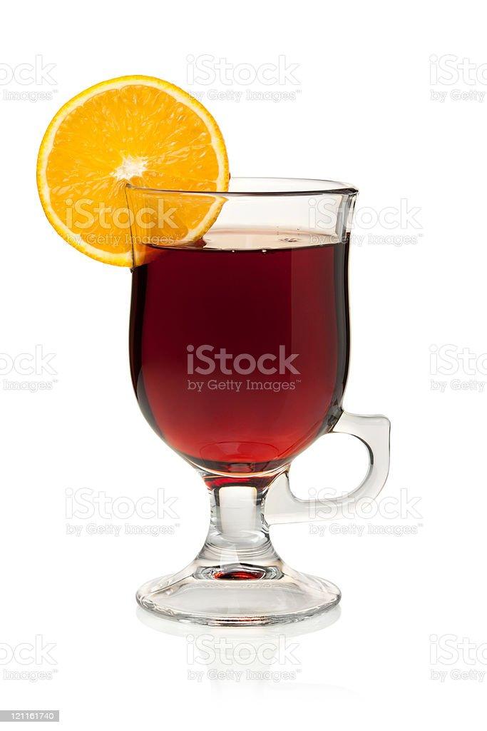 Hot mulled wine with orange slice royalty-free stock photo