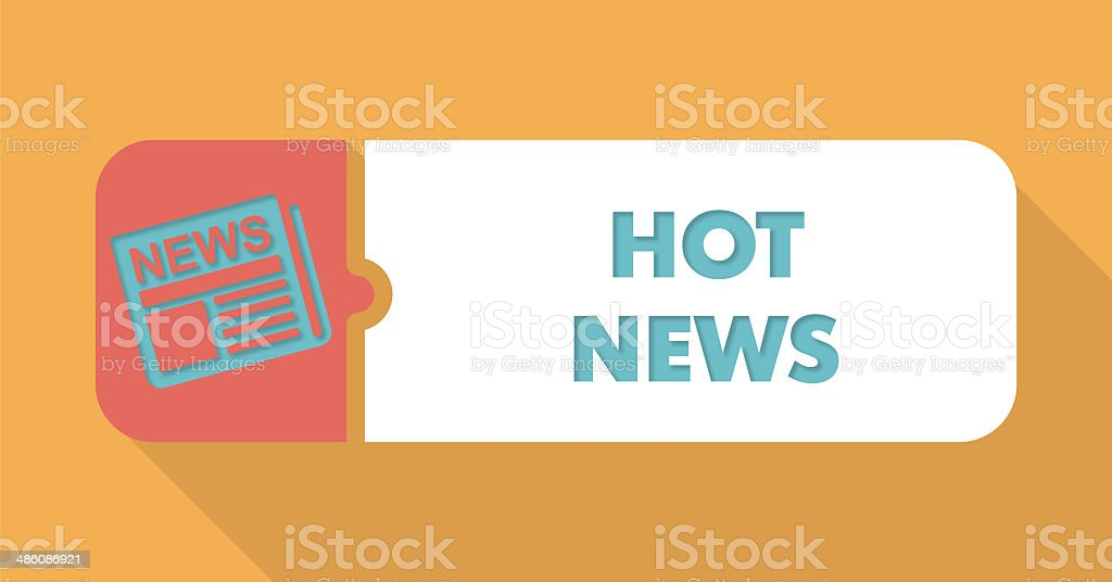 Hot News Concept in Flat Design on Orange Background. stock photo