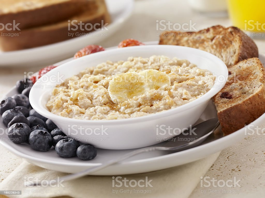 Hot Oatmeal with Bananas royalty-free stock photo