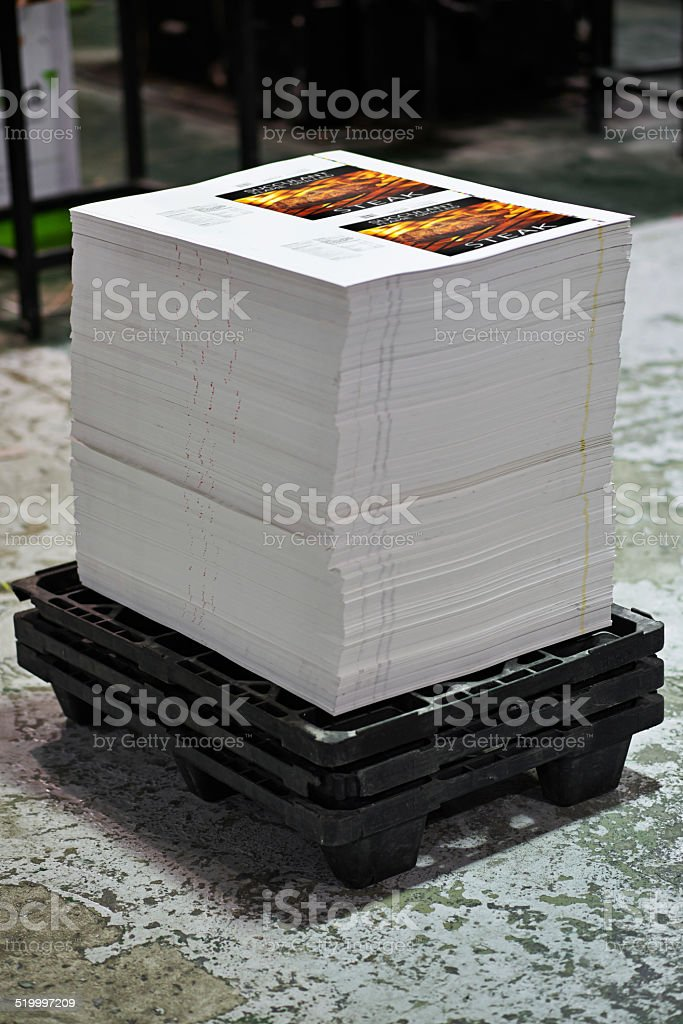 Hot off the press and ready for packaging stock photo