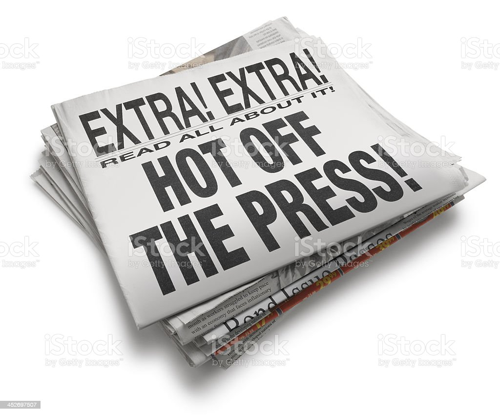 Hot off the Press Newspaper Headline On White Background stock photo