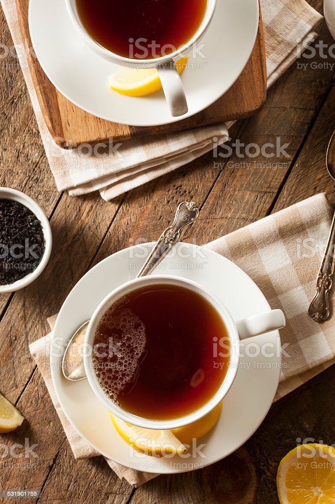 Hot Organic Black Tea stock photo