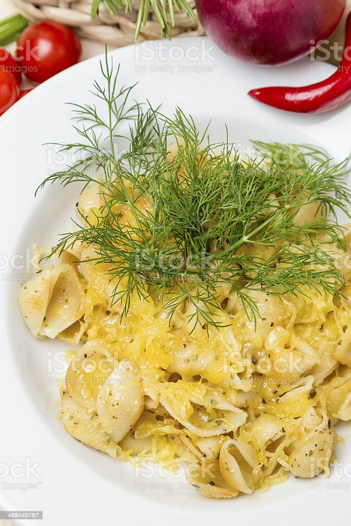 hot pasta with garnish on plate royalty-free stock photo