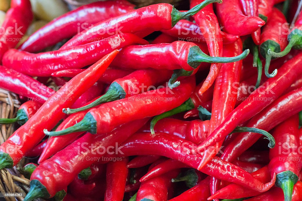 Hot Peppers in Borough Market, London royalty-free stock photo