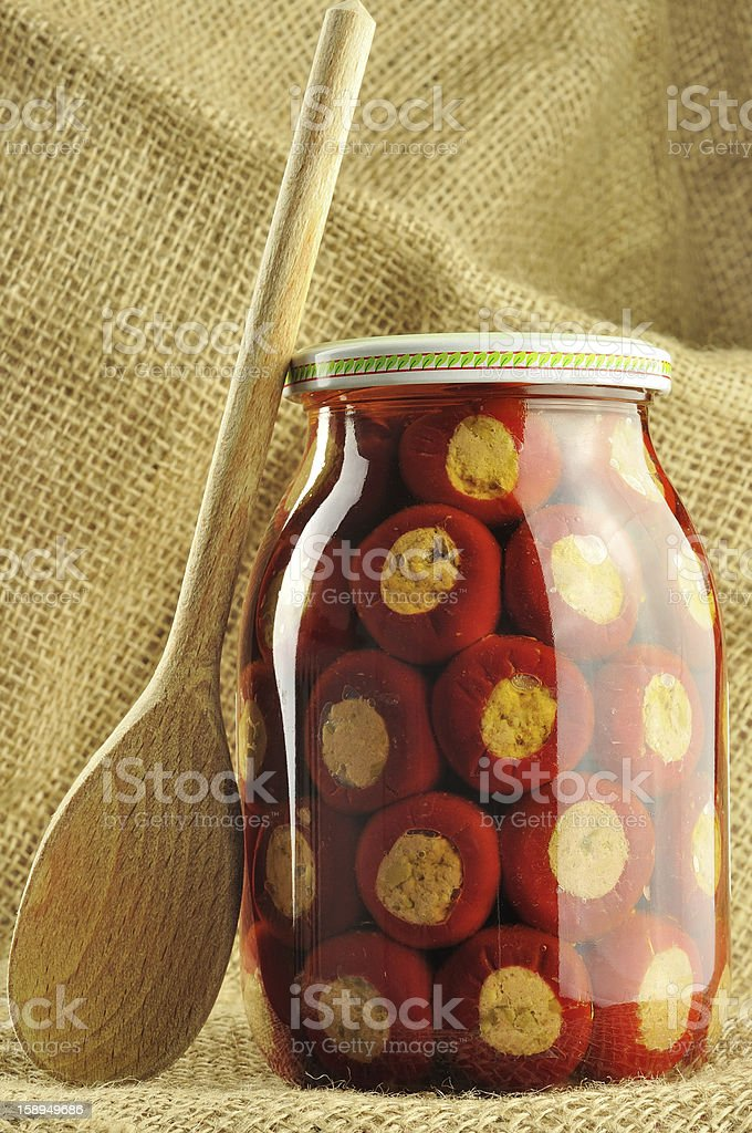 Hot peppers stuffed with tuna royalty-free stock photo