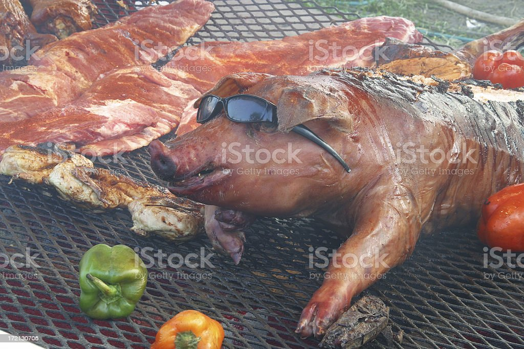 Hot Pig on BBQ, Roasted Pork Meat royalty-free stock photo