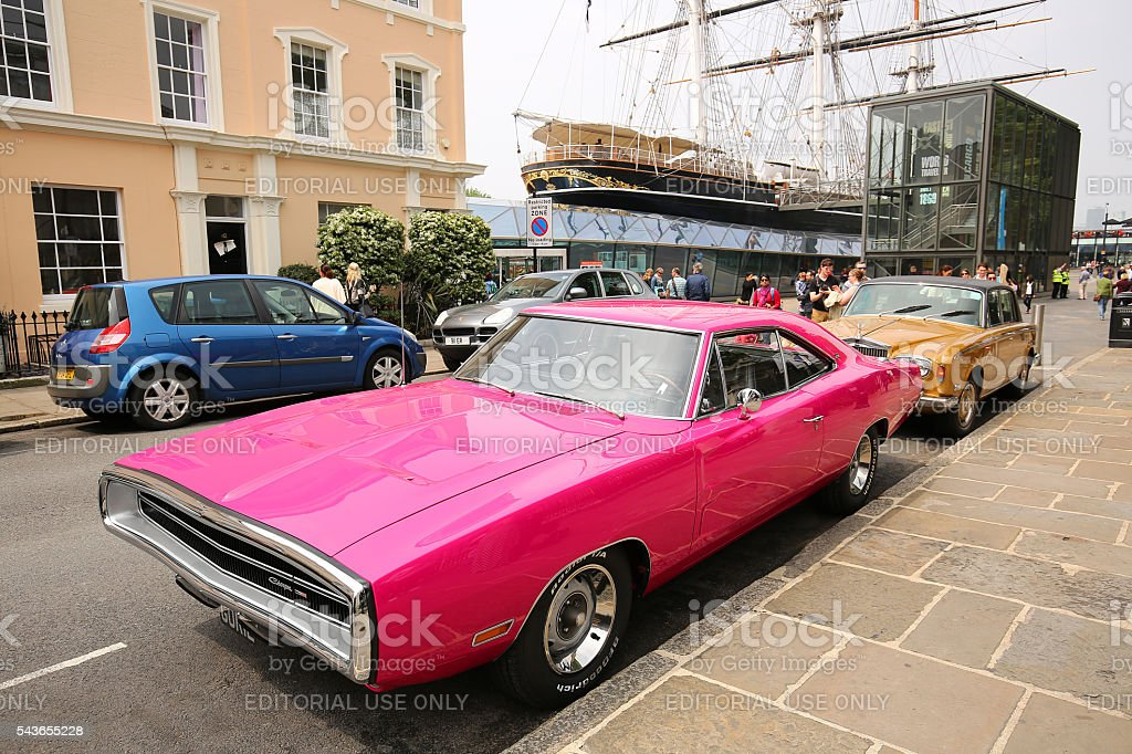 hot pink Charger car stock photo