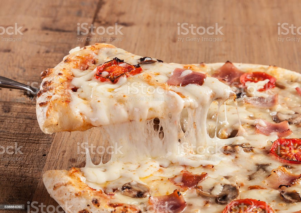 Hot pizza slice stock photo