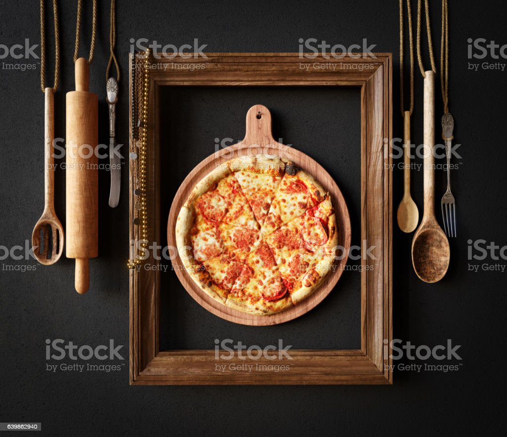 Hot pizza slice with melting cheese with frame concept  photo stock photo