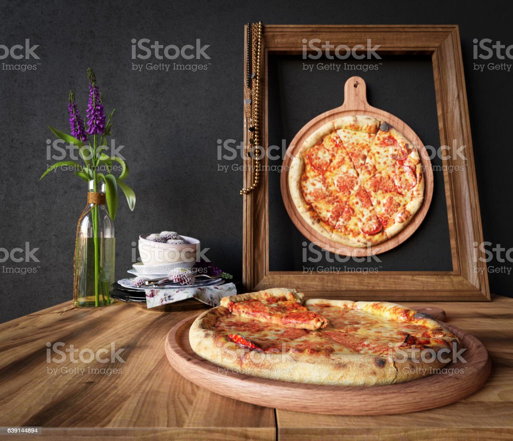 Hot pizza slice with melting cheese with frame concept stock photo