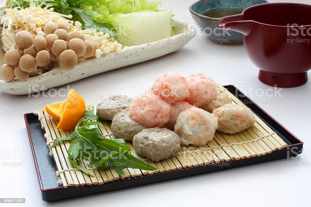 Hot pot of fish ball Chanko-nabe(Sumo wrestler's food), Japanese food stock photo